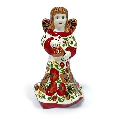 Ермиловская игрушка, сувенир «Ангел» с хохломской росписью.