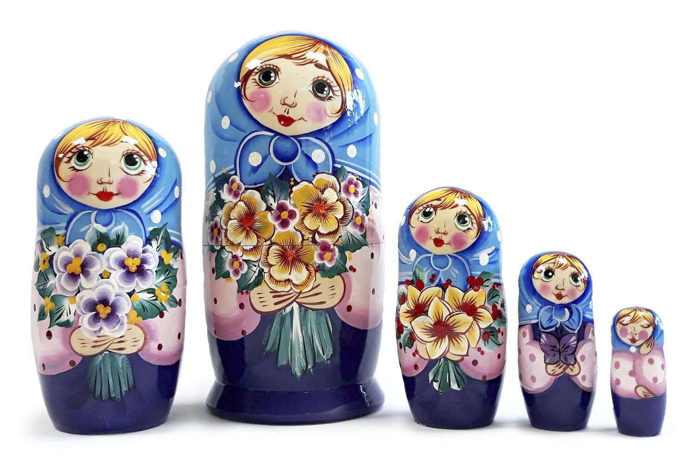 Матрёшка Семеновская «Танечка» авторская 5 кукол