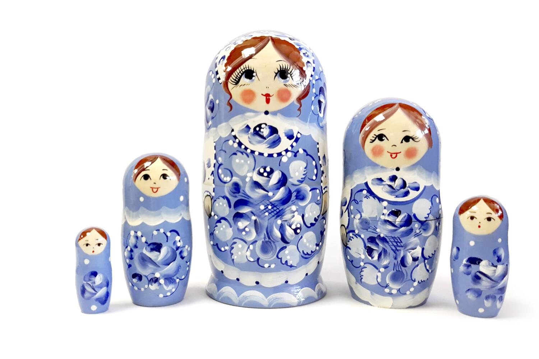 Матрёшка Семеновская «Лазурный сарафан» авторская 5 кукол