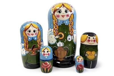 Матрёшка Семеновская «Семейные посиделки» авторская 5 кукол (опт)
