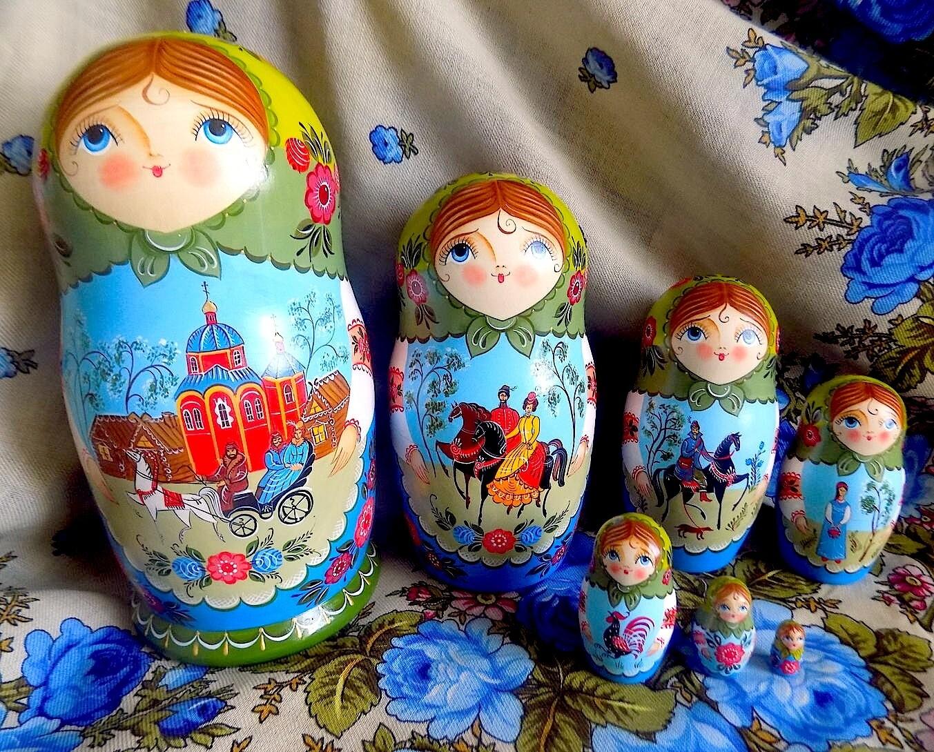 Матрёшка городецкая с сюжетом авторская 7 кукол