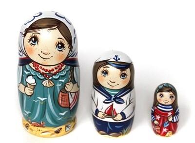 Матрёшка Морская прогулка авторская 3 куклы (опт)