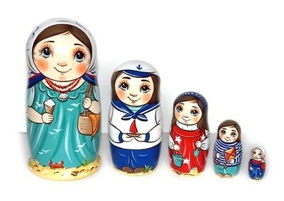 Матрёшка Морская прогулка авторская 5 кукол (опт)