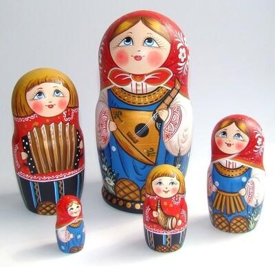 Матрёшка авторская «Маруся с балалайкой» 5 кукол (опт)