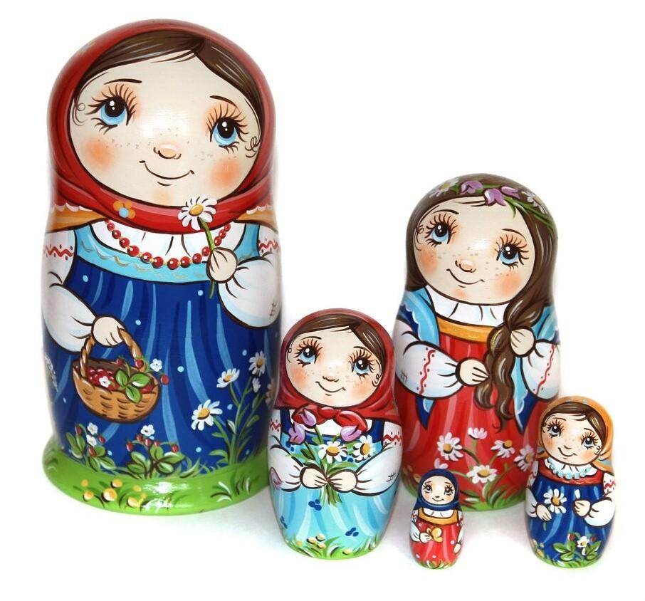 Матрёшка Ромашковое лето авторская 5 кукол