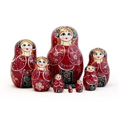 Матрёшка Семеновская авторская «Ариша» 8 кукол (15 см) (опт)