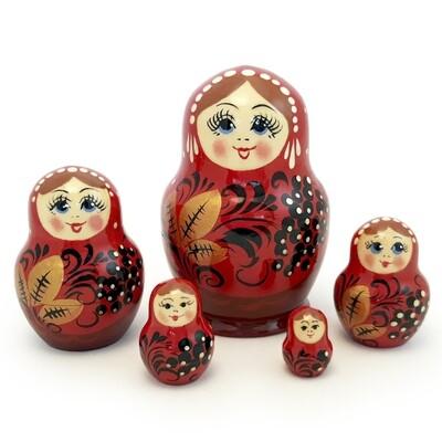 Матрёшка Семеновская «Катюша» рябинка 5 кукол (опт)