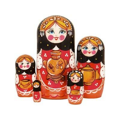 Матрёшка Семеновская «Чаепитие» авторская 5 кукол (опт)