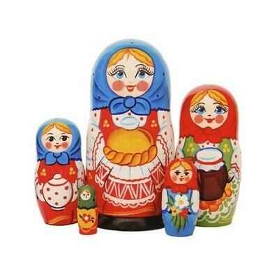 Матрёшка Семеновская «Каравай» авторская 5 кукол (опт)