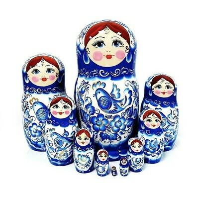 Матрёшка Семеновская авторская «Гжель» 10 кукол (опт)