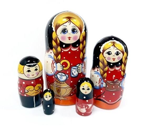 Матрёшка Семеновская «Семейные посиделки» авторская 5 кукол