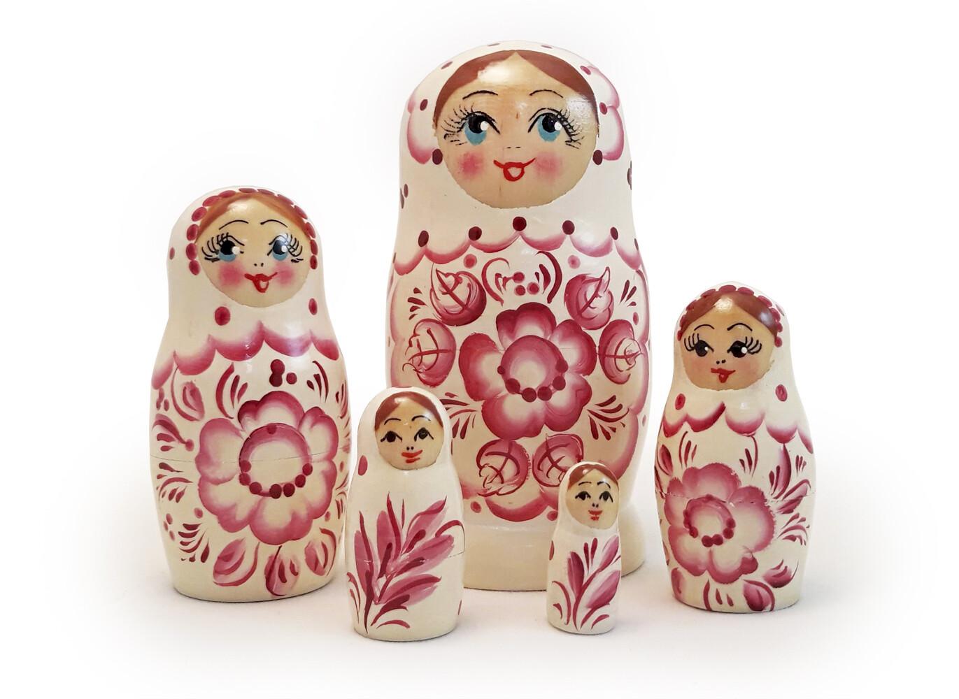 Матрёшка Семеновская «Россияночка» Гжель 5 кукол