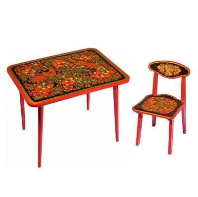 Стол малый «Детство» и стульчик (окрашен.ножки) с хохломской росписью 0-1-2-3 рост.кат.