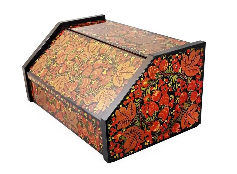 Хлебница с хохломской росписью, 380x240х185мм