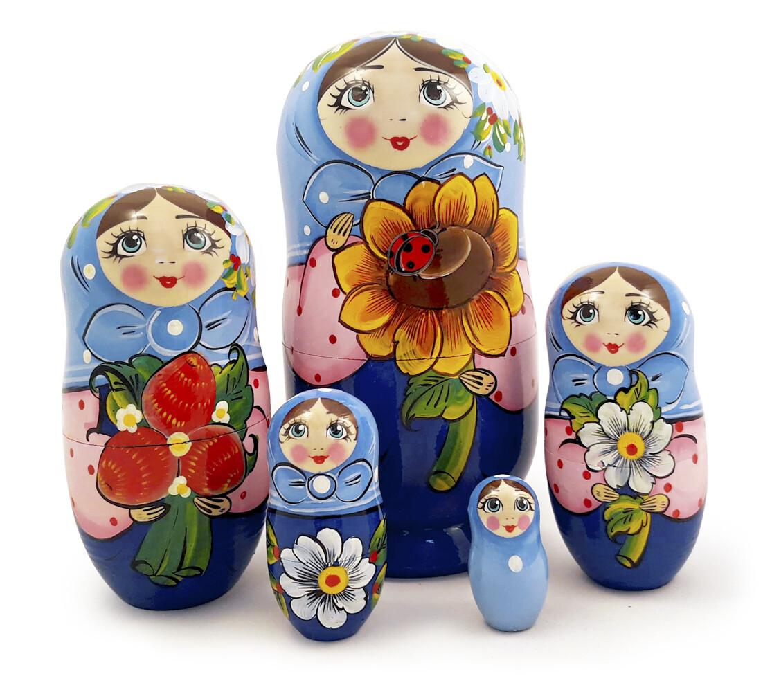 Матрёшка Семеновская «Василиса» авторская 5 кукол
