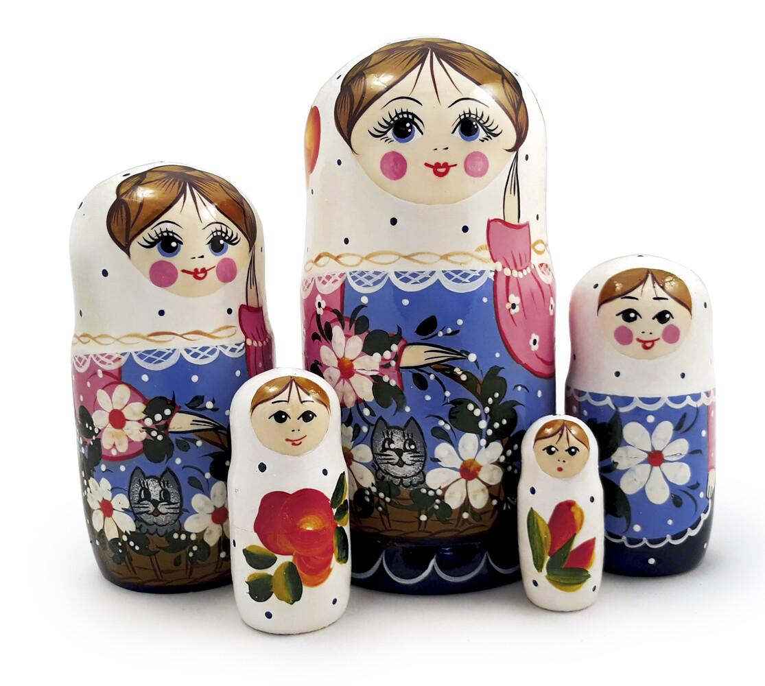 Матрёшка Семеновская «Кошка в лукошке» авторская 5 кукол