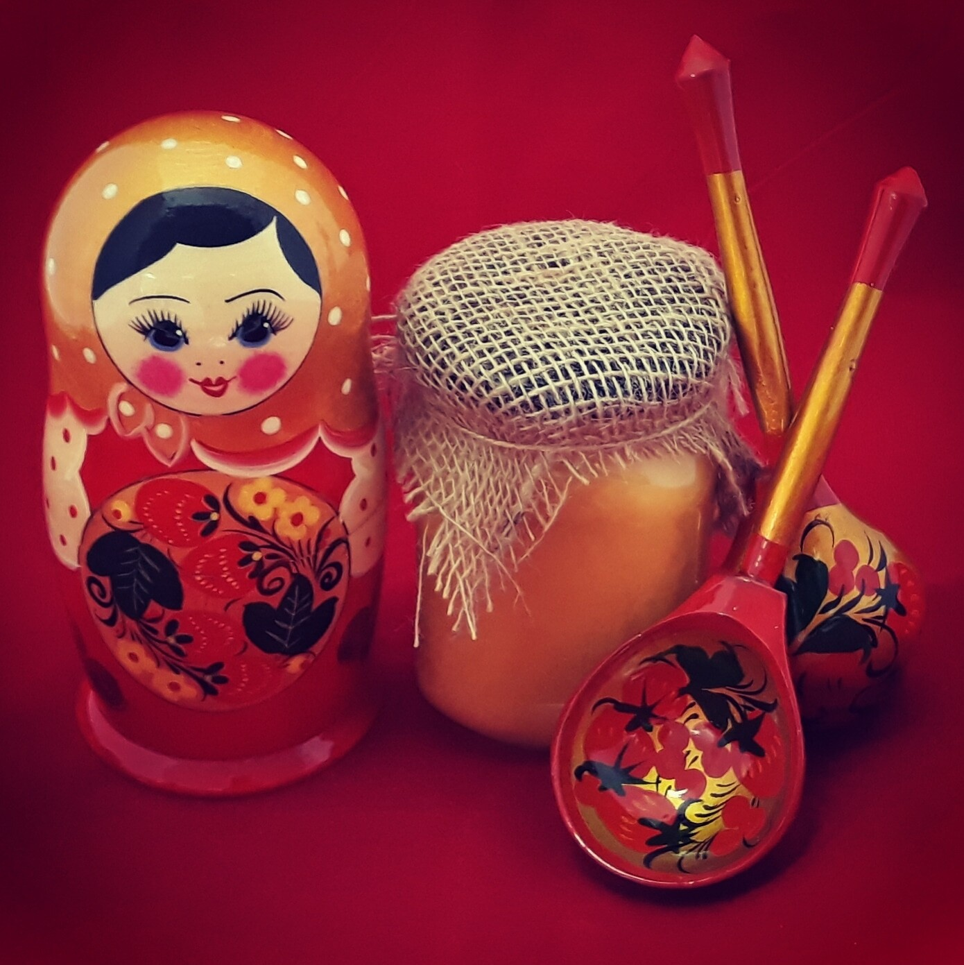 """Матрёшка с мёдом и ложками, коллекция """"Всё Под Хохлому, на здоровье!"""", набор №2"""