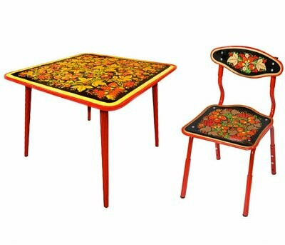 Стол детский квадратный «Осень» и стульчик с хохломской росписью (РАСТУЩИЙ КОМПЛЕКТ) 1-3 рост.кат.