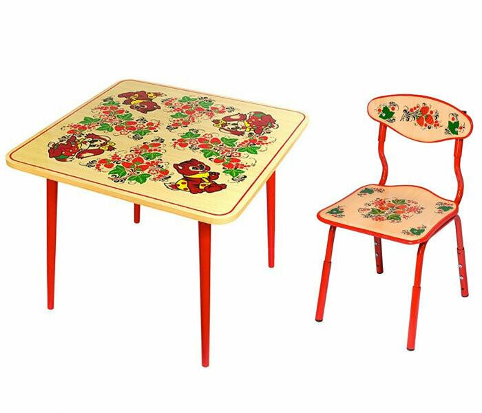 Стол детский квадратный «Осень» и стульчик с художественной росписью (РАСТУЩИЙ КОМПЛЕКТ) 1-3 рост.кат.