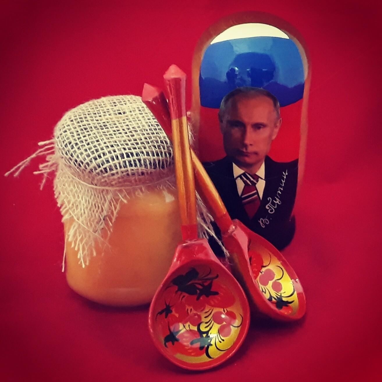 """Матрёшка с мёдом и ложками, коллекция """"Всё Под Хохлому, на здоровье!"""", набор №4"""
