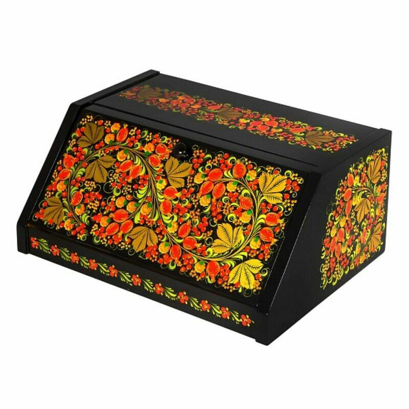 Хлебница с хохломской росписью, Подарочная коллекция, 370х275х170мм