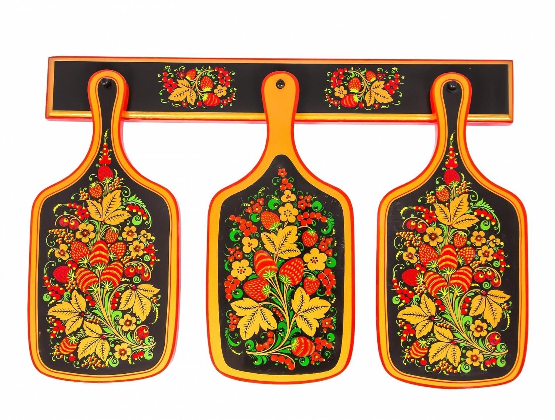 Комплект разделочных досок с хохломской росписью (4 предмета)