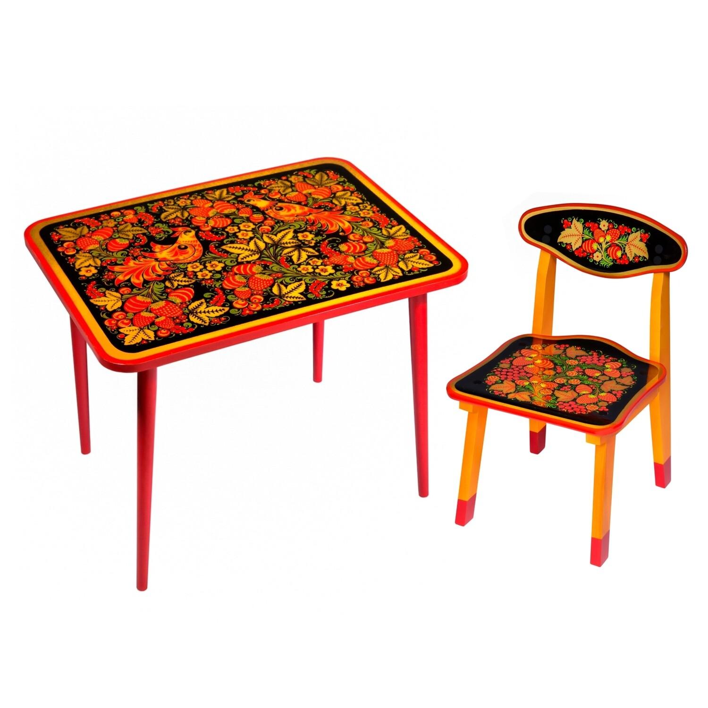 Стол малый «Детство» и стульчик с хохломской росписью