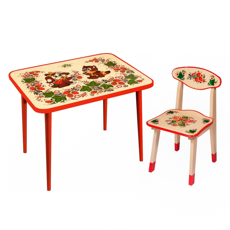 Стол малый и стульчик детский с холодной росписью