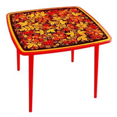 Стол детский квадратный «Осень» с хохломской росписью, 1-я ростовая категория