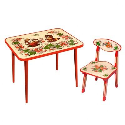 Стол малый и стульчик детский (рисунок Зверята) с художественной росписью, 1-я ростовая категория