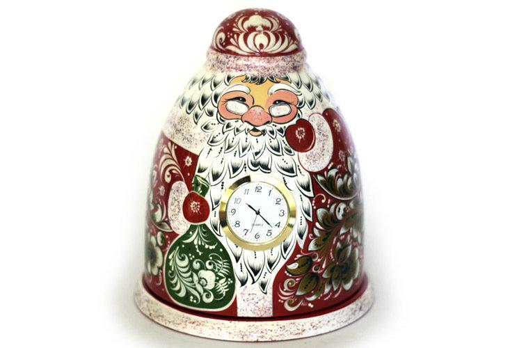 """Дед Мороз """"Подарок"""" с часами с хохломской росписью"""