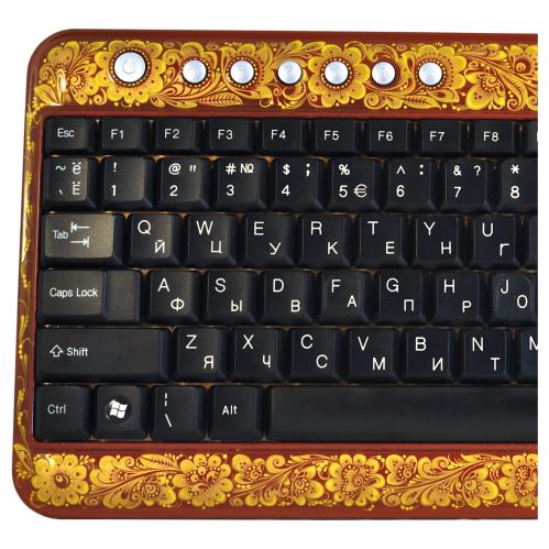 Клавиатура Хохлома, Вернисаж K001-16, проводная клавиатура-мини, A4Tech