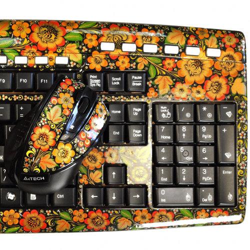 Клавиатура Хохлома, Вернисаж K206-07, беспроводной комплект с мышью, A4Tech
