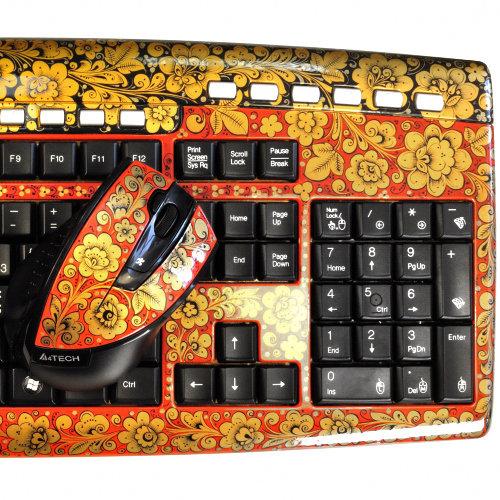 Клавиатура Хохлома, Вернисаж K206-23, беспроводной комплект с мышью, A4Tech