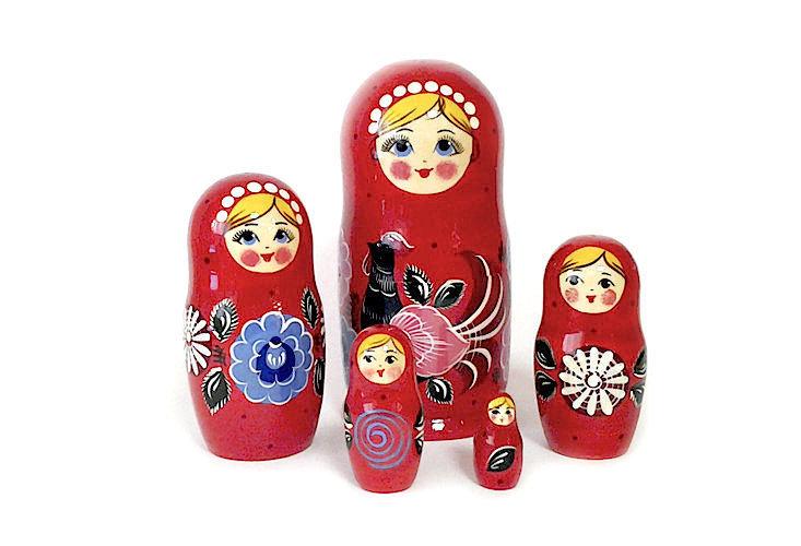 Матрёшка Семеновская «Городецкий петух» авторская 5 кукол.