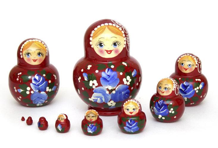Матрёшка Семеновская «Катюша» 10 кукол