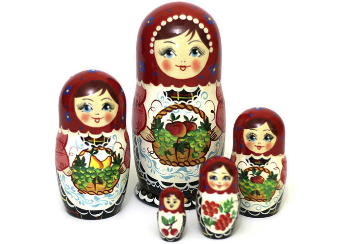 Матрёшка Семеновская «Корзиночка с фруктами» авторская 5 кукол
