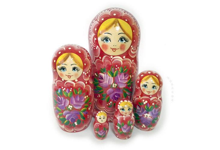 Матрёшка Семеновская «Россияночка» 5 кукол. Нетрадиционная роспись