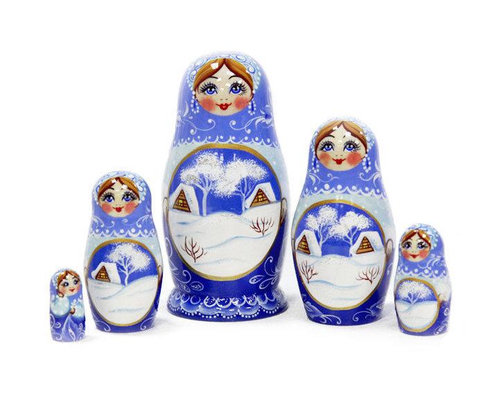 Матрёшка Семёновская «Зима» авторская 5 кукол