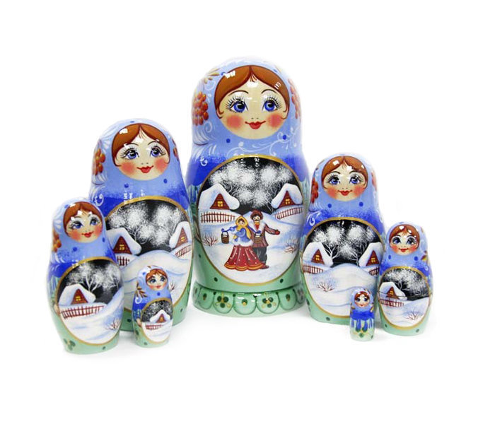 Матрёшка Семёновская «Зима» авторская 7 кукол