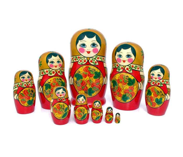 Матрёшка  с Хохломской росписью 10 кукол