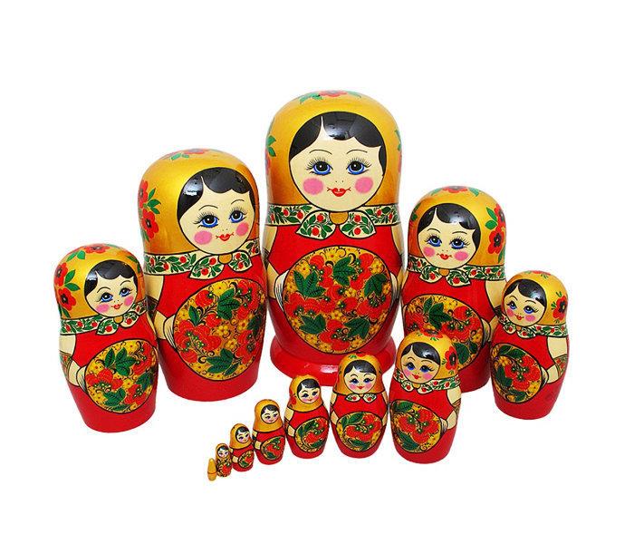 Матрёшка с хохломской росписью 12 кукол