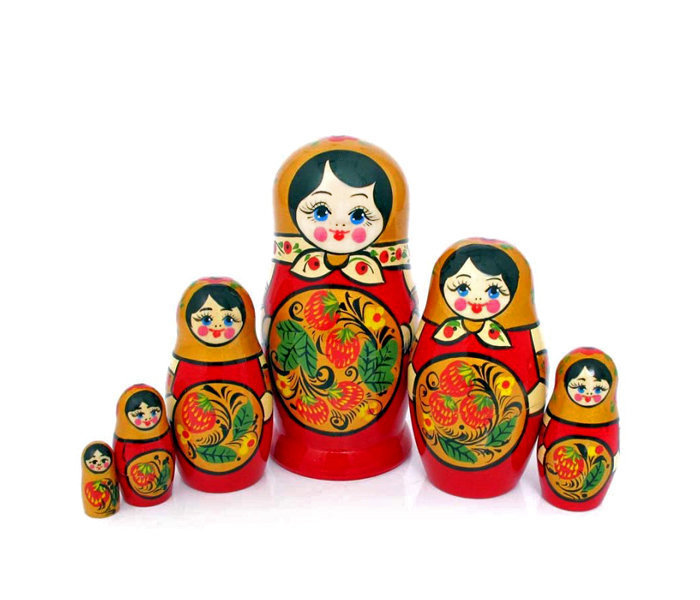 Матрёшка с Хохломской росписью 6 кукол