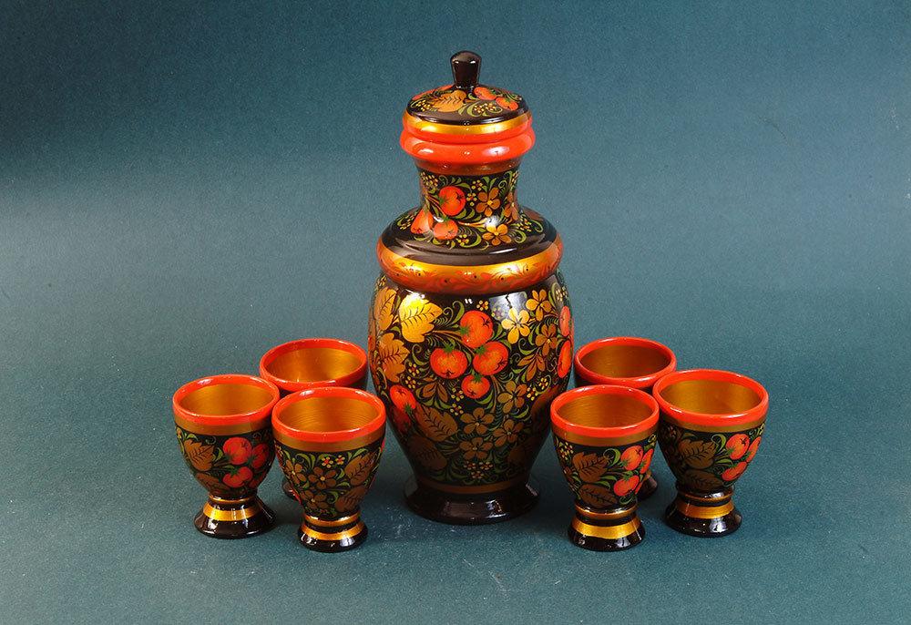 Набор для вина с хохломской росписью 7 предметов
