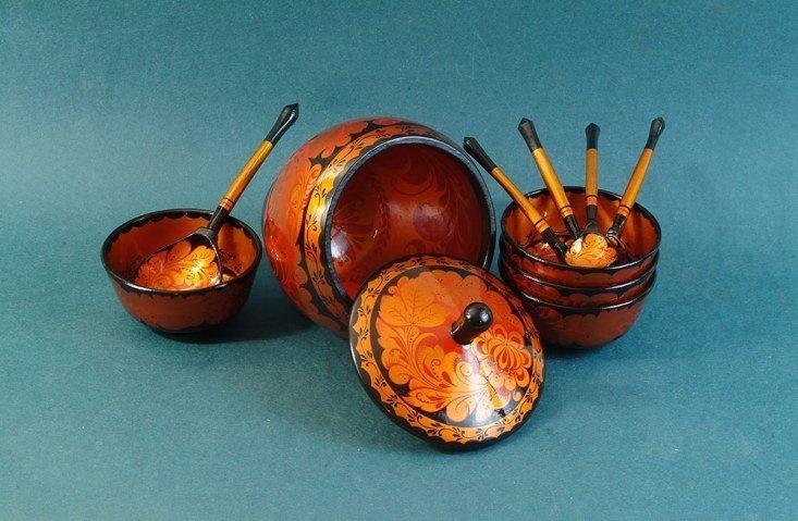 Набор для грибов с хохломской росписью из 10 предметов