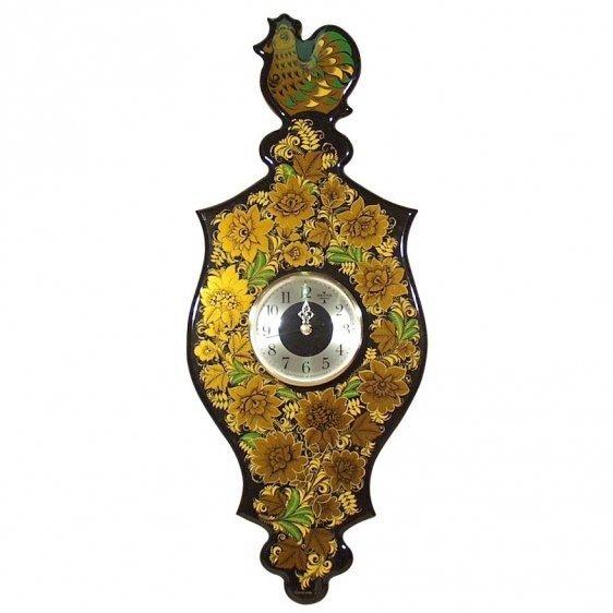 Панно резное с часами «Петушок»  с хохломской росписью