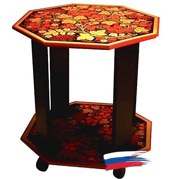 Стол 8-гранный с деревянными стойками «Ягодка» с хохломской росписью