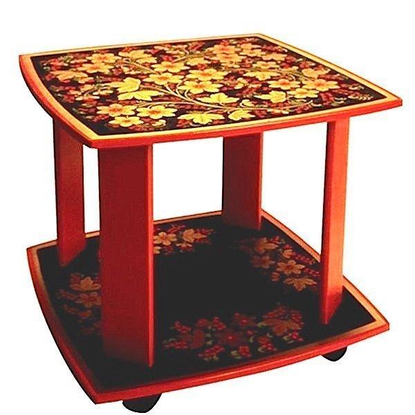 Стол квадратный подвижной «Цветочек» с хохломской росписью