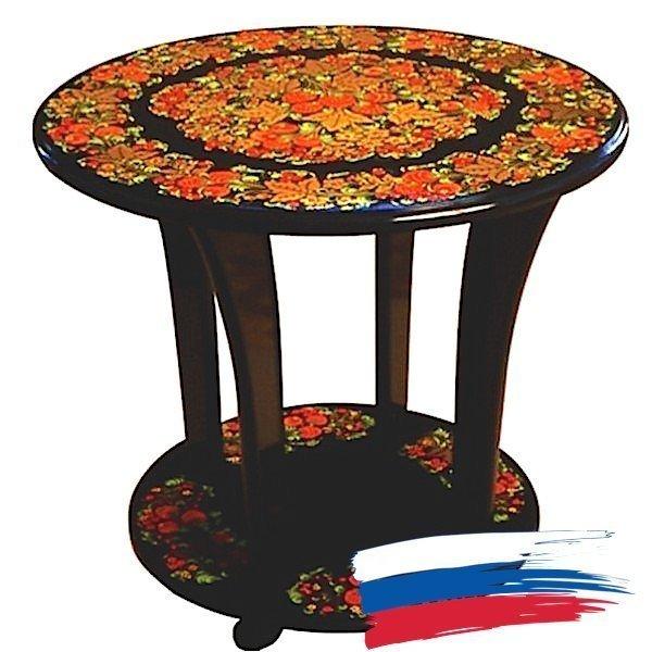 Стол круглый подвижной «Колорит-1» с хохломской росписью
