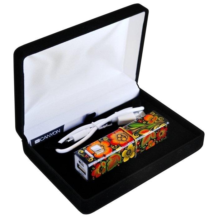 Универсальный внешний аккумулятор Хохлома,  Вернисаж R001-07B, 2600 мА*ч, 1А, USB, Canyon